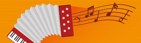 festival music accordion notes icon design vector illustration